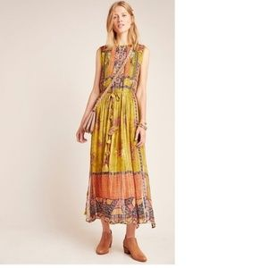 Anthropologie Citron Embroidered Maxi Dress